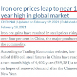 原材料価格の上昇